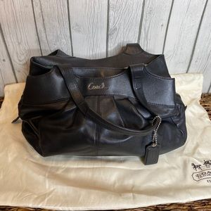 Coach hand bag black leather